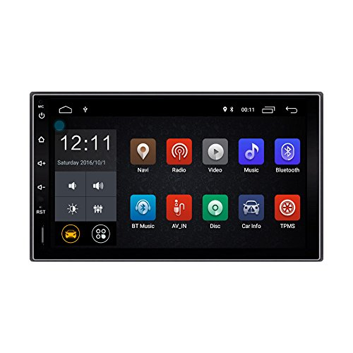 Lexxson Android 8.0 Car Radio Stereo 2Din 7 inch Capacitive Touch Screen GPS Navigation Compatible OBD TPMS Wireless USB SD Mirro Link Player 1G DDR3 + 16G NAND Memory Flash CT0009L