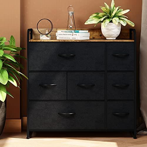 UIANO Kommode mit 7 Schubladen, Stoffaufbewahrungsturm, einfach zu installieren, Stoffkörbe und Holzplatte, großer Stauraum, Wohnzimmer, Flur, Schränke, Kinderzimmer, Flur