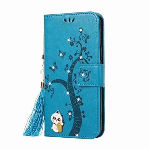 Funda de teléfono móvil compatible con Samsung Galaxy Note 20, carcasa de silicona con diseño de gato con brillantes, funda con tapa y función atril, cierre magnético, color azul