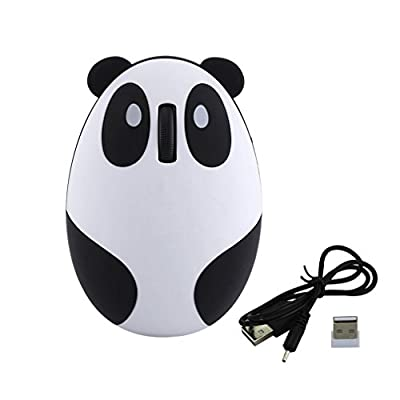 Novelty Cute 2.4Ghz Wireless Mouse Cartoon Animal Panda Shaped Rechargeable Optical Mini Small Mice for PC Laptop Computer(Pink)
