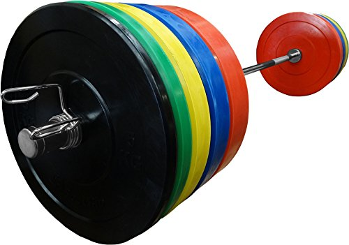 BodyRip IWF Olympic Bumper Weight Plate Set Of 150Kg Including 7ft Barbell & Collars