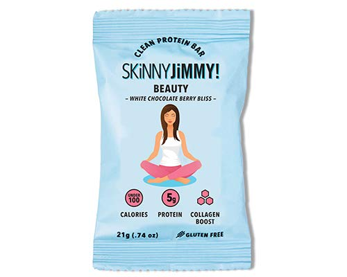 Skinny Jimmy! Beauty Bar with Collagen, White Chocolate Berry Bliss, Under 100 Calories Mini Protein Bar, 24 Count