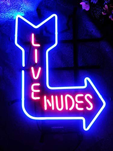 "XPGOODUSA New Live Nudes neon sign-17""×13"" bar Signs for Home Bedroom Garage Neon Decor Wall..."