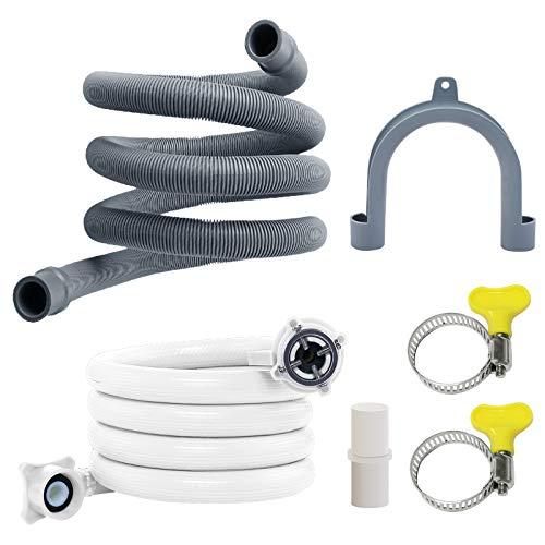 LAMEK 150 cm Ablaufschlauch Verlängerung Set Kunststoff Wasserschlauch Plastik Abwasserablaufschlauch Ablaufschlauchverlängerung mit Wassereinlassrohr für Waschmaschine Spülmaschinen