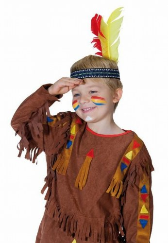 Indianer Stirnband für Kinder Kinderstirnband Kopfband Stirn Band mit Federn