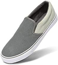 CAMEL CROWN Men's Slip on Canvas Shoes Lightweight Skateboarding Shoes Casual Walking Sneakers Comfortable Skate Shoes Gray 11