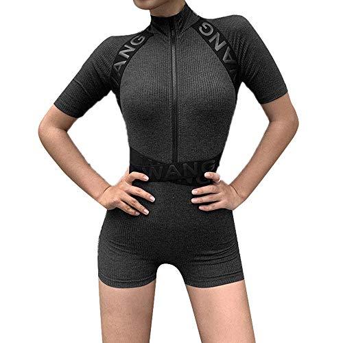 Mode Coltrui Rits Skinny Sport Jumpsuit Dames Hoge Taille Korte mouw Overalls Jumpsuit