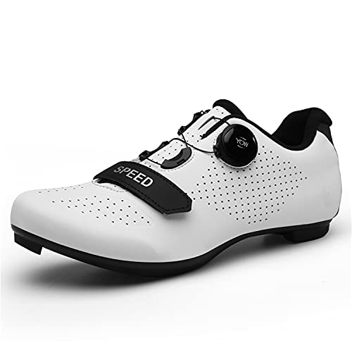 Scurtain Unisex Mens Womens Road Bike Cycling Shoes Riding Shoes with Compatible Cleat Peloton Shoe with SPD and Delta for Men Women Lock Pedal Bike Shoes Indoor Outdoor White 5 Men