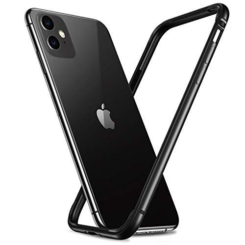 RANVOO Kompatibel mit iPhone 11 Hülle, iPhone XR Hülle, Bumper Case Aluminium Rahmen + Innen Gepolstert TPU Metall Bumper Handyhülle Schutzhülle, [Wärmeableitung] [für Handyspieler], 6,1'', Schwarz