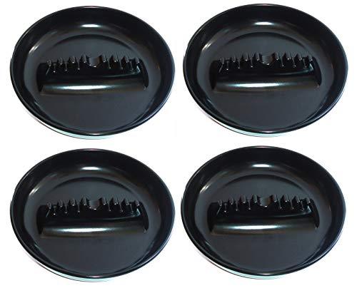 ALAZCO Set of 4 Round Plastic Cigarette Cigar Tabletop Ashtray Black 7' Vintage Restaurant Style