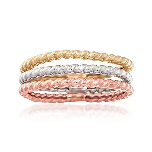Ross-Simons 14kt Tri-Colored Gold Jewelry Set: 3 Roped Bands