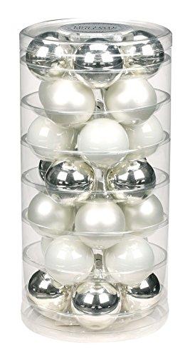 Inge-glas 1900D002 Boîte de 28 Boules de Noël en Porcelaine Blanc Mat et Argent Brillant 45 mm