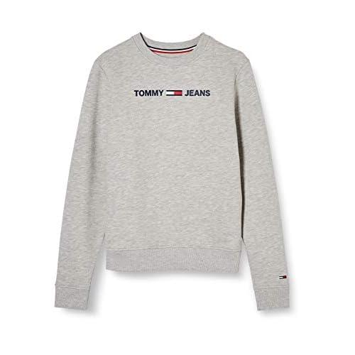 Tommy Jeans Tjw Essential Logo Sweatshirt Felpa, Grigio (Light Grey Htr P), 36 (Taglia Unica: XX-Small) Donna