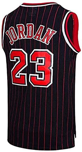 xzl Hombres Baloncesto Jersey NBA Michael Jordan #23 Youth Training Chaleco Transpirable Ropa Deportiva Clásica, Negro Rojo - L
