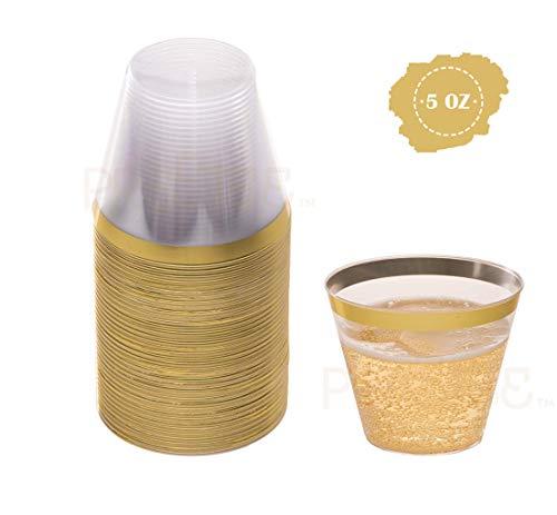 Gold Plastic Cups   5 oz. 100 Pack   Hard Clear Plastic Cups   Disposable Party Cups   Fancy Wedding Tumblers   Nice Gold Rim Plastic Cups   Elegant Decoration Cups   Plastic Tumblers Bulk
