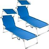 TecTake Conjunto de 2 Tumbonas Cama Hamaca Aluminio Plegable con Parasol Jardín Exterior Playa