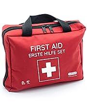 Eerste hulp zak met instant koude kompressen, reddingsdeken en assortiment van pleisters (103 stuks, rood)