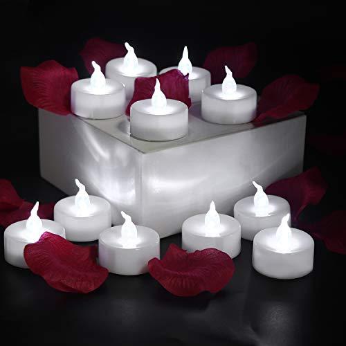 GPODER Luz de Té Velas LED con Batería 8 Vela LED sin Llama, Blanco Velas Electrónicas sin Llamas para Exterior, Navidad, Bodas Decoración