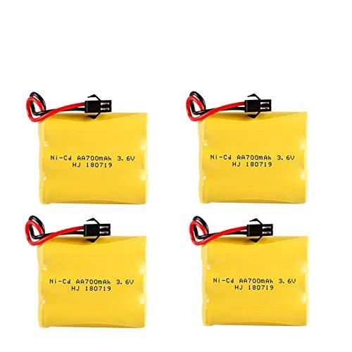 Batería AA de 3.6v 700mAh Batería Recargable de 3.6v AA 700mah para Juguetes eléctricos de Coche Modelo de Barco RC 4pcs