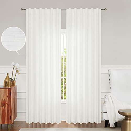 Herringbone Stripe Farmhouse Curtain Panels Semi Sheer 54W x 63L Heavy Linen Texture Stripe Drape Rod Pocket Back Tab Window Treatment for Living Room/Bedroom, Linen/White, Set of 2