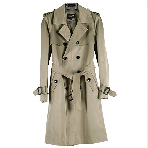 MERRYHE Herren Gürtel Zweireiher Trenchcoats Langarm Jacken Vintage Khaki Mantel Topcoats Oberbekleidung,Khaki-3XL(Bust/120cm)