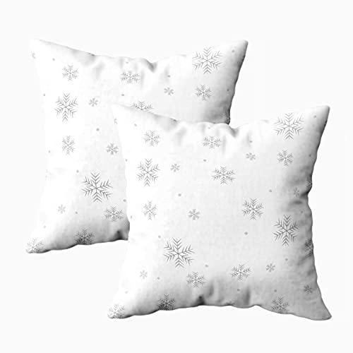 Fundas de almohada para sofá, paquete de 2 fundas de almohada para el hogar, fundas de almohada para sofá, patrón de copos de nieve sobre fondo blanco, cuadrado, impresión a doble cara, multicolor