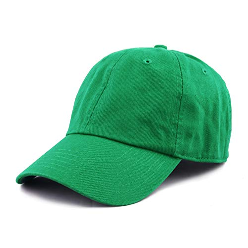 The Hat Depot 300N Washed Low Profile Cotton and Denim Baseball Cap (Kelly Green)