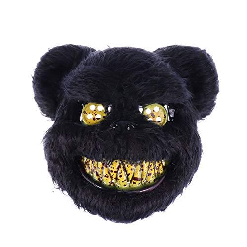 Amosfun gruselige Halloween Masken blutiger bär Maske Horror Tier Maske Halloween kostüm Cosplay Maske (schwarz)