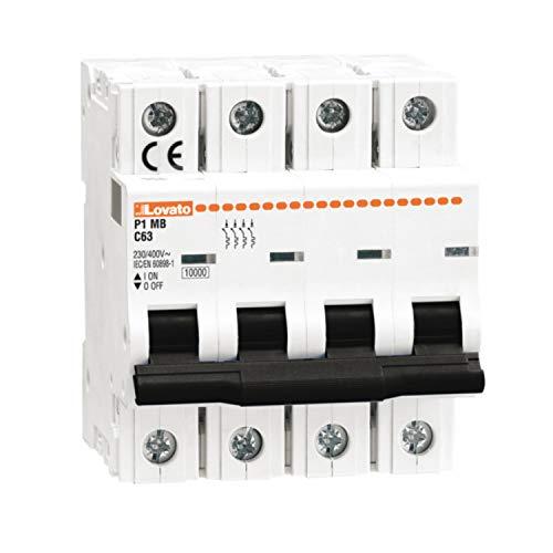 Interruptor magnetotérmico curva D, 4 polos 16A 10 kA, 8,4 x 7,2 x 25 centímetros, color blanco (Referencia: P1MB4PD16)