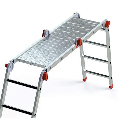 Faraone - Scala piattaforma - Piattaforma antiscivolo montabile PLA.EA614 - 150 x 40 x 5 cm - Piattaforma di lavoro - Massima sicurezza - Montabile e pieghevole