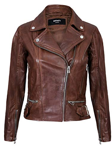 Infinity Leather Giacca in Pelle da Donna Marrone in Vera Motociclista Classico L