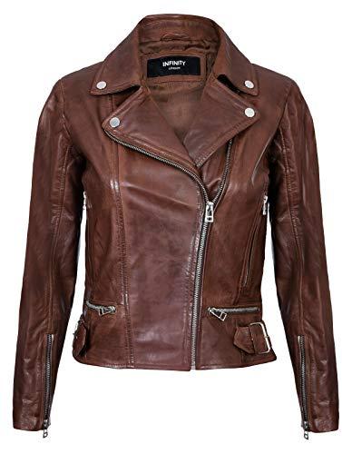 Infinity Leather Damen Lederjacke Klassisch Motorrad Braun Echte Damenjacke 3XL