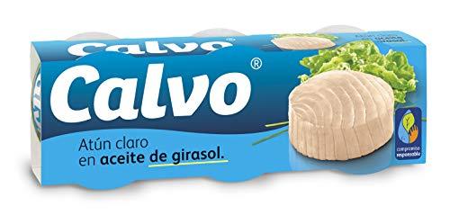 Calvo - Atun claro aceite girasol - 3 packs de 3 latas[9x80 g en total 720 g]