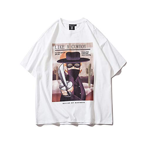 DREAMING-Una Sudadera de Verano de Manga Corta con una Camiseta de algodón de Cuello Redondo Estampada Suelta para Hombres y Mujeres XL