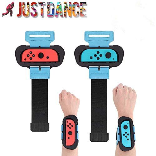 2 Pack Armband für Nintendo Switch Joy Con Controller Kompatibel mit Just Dance 2021 2020 2019 Verstellbarer elastischer Gurt mit Position für links und rechts Joy Cons