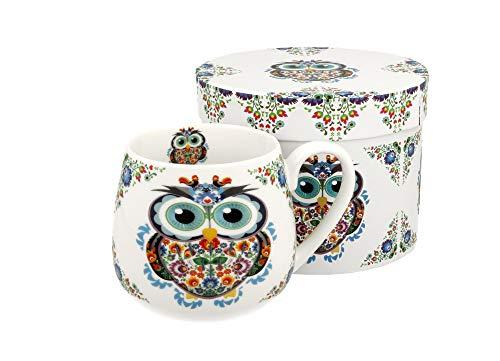Tee-Tasse Kaffeetasse Kaffeebecher Teebecher Variante OHNE Sieb und Deckel Porzellan Teetasse bauchig Geschenk-Tasse Blumen Cup 400 ml von DUO in Geschenkbox Becher (Eule OHNE Filter)