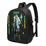 Homewifi Crypto Apex Legends Leisure USB 17in Backpack Laptop Adjustable Shoulder Business Travel School