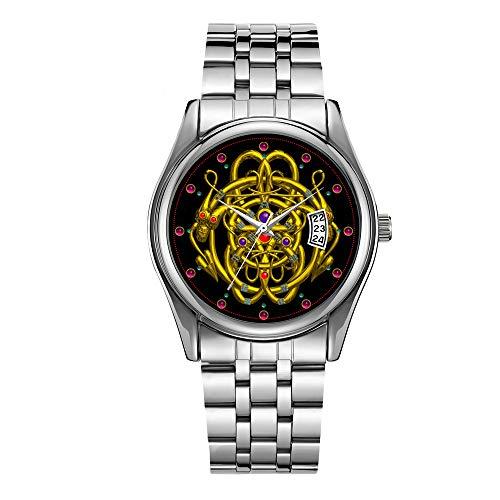 Christmas Luxury Steel Men Watch Fashion Male Date Calendar Clock Sports Watchband Waterproof Man Quartz Wrist Watches Gold Celtic Knots with Twin Dragons Wristwatch