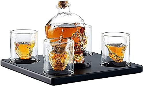 Ghongrm Conjunto de decantador de Whisky de Cara de cráneo Grande - 750ml Whiskey Cráneo Cara Frasco Jarfe Decanter con 4 Gafas de Tiro de cráneo y Base de Madera