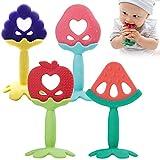 Ldawy bebés mordedor, 4 piezas Juguetes de dentición de silicona para bebés Juguete de...
