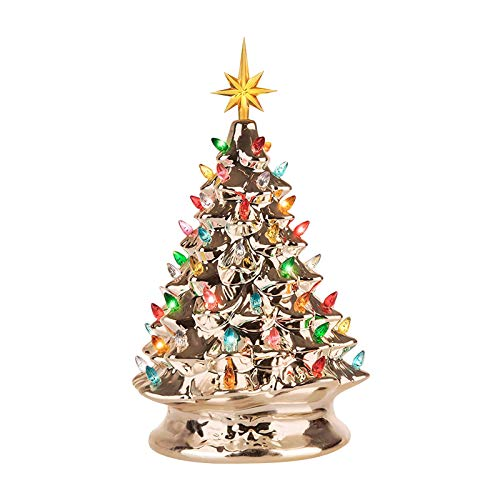 jieGorge Luminous Ceramic Christmas Tree With Small Green Lantern Ceramic Christmas Decor, Home Decor for Christmas Day (GD)
