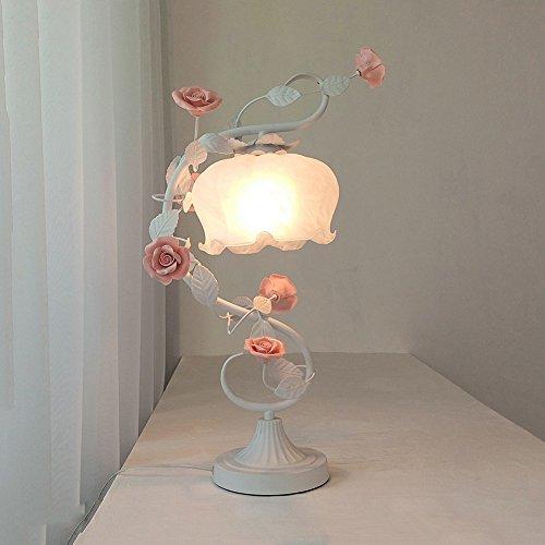 Wshfor Lampe De Table De Style Européen Chambre Lampes De Chevet Lampes De Salon Lampe D'étude Fer Forgé Blanc Créatif Belle Fleurs Rouges