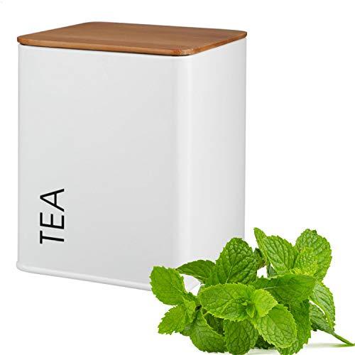 Kerafactum – Recipiente para té con tapa, lata para té suelto, café, azúcar, vintage, estilo retro, lata de metal, recipiente para té, azucarero, tapa de bambú, junta de silicona