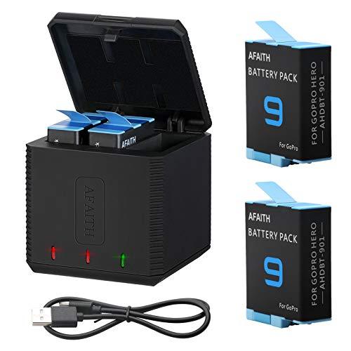 AFAITH 2 batterie di ricambio con caricabatteria per GoPro Hero 9 Black, scatola di immagazzinaggio a 3 canali Caricabatteria con 2 batterie agli ioni di litio + cavo di tipo C per GoPro Hero 9 Black