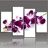 4 paneles modernos lienzo imágenes de la sala decoración del hogar pintura de orquídeas de color rosa oscuro póster de arte de pared impreso 30X60X2 30X80Cmx2 sin marco