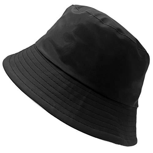 Charmoni - Chapeau Bob de Pluie Bonnet de Soleil pêcheur Unisexe - Vinyle ou synthétique ciré Imperméable - Doublure Toile - légère et Pliable - Taille Unique - Femme Homme (Noir Mat)