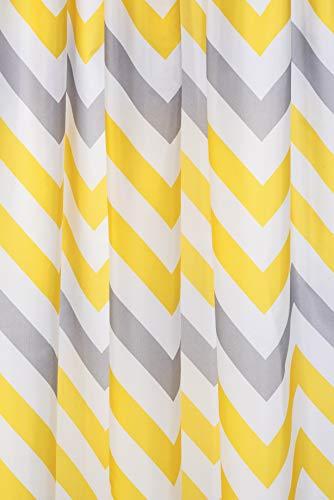 Croydex Jaune et Gris Chevron Rideau de Douche en Textile avec Hygiene 'n' Clean, Jaune/Gris