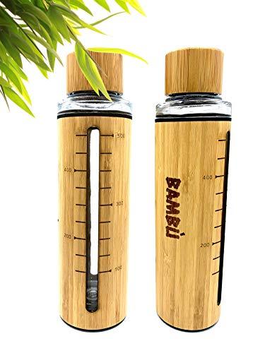 Bambù Bambusflasche mit 700ml Füllmengenanzeige | Garantiert Auslaufsicher | Trinkflasche mit integrierter Glasflasche | 100% BPA frei | Rutschfeste Sportflasche | Vakuumisoliert