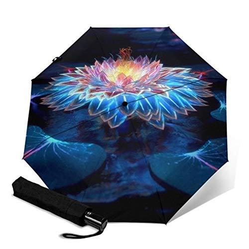 Paraguas a prueba de viento, Floral de la flor completa de impresión automática Parapluie Rainy portátil plegable paraguas a prueba de viento Hombres Mujeres Paraguas (Color : YSC1021)