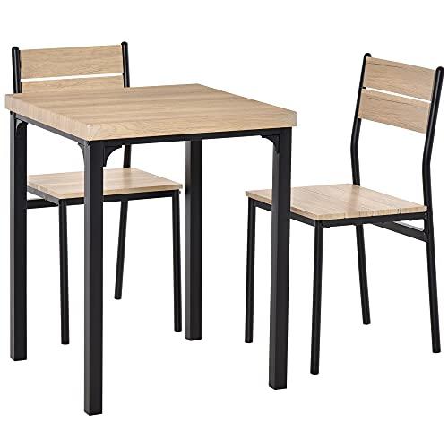 HOMCOM 3-teilige Essgruppe Sitzgruppe Esstisch Set Holztisch MDF + Metall Naturholzmaserung + Schwarz mit 1 Tisch + 2 Stühlen